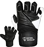 Steel Sweat Weightlifting Gloves - 18 inch Wrist Wrap Support for Workout, Gym and Fitness Training - Best for Men and Women Who Love Weight Lifting - Leather ZED Medium
