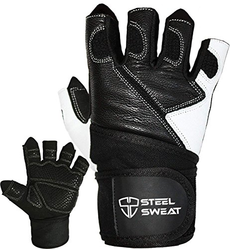 Steel Sweat Weightlifting Gloves - 18 inch Wrist Wrap Support for Workout, Gym and Fitness Training - Best for Men and Women Who Love Weight Lifting - Leather ZED Small