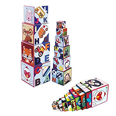 Mobee 10 Pieces Stacking Cubes Nesting Boxes Educational Toys Alphabet Block for Children Toddlers: Toys & Games