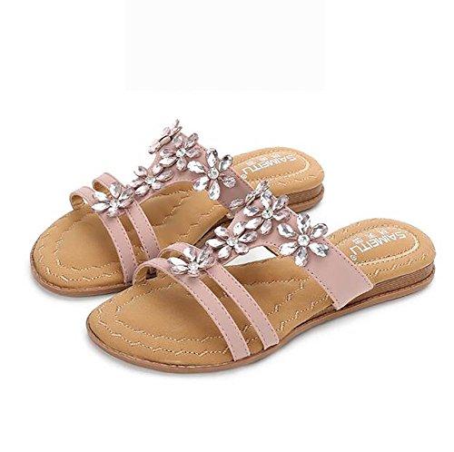 Punta UK7 Zapatilla Abierta Zapatos Playa Chanclas US9 Pink Mujeres EU40 SHANGXIAN Red Sandalias Planos Verano CN41 qxOXwIOU
