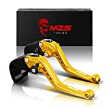 #9: MZS Short Brake Clutch Levers for Yamaha YZF R1 2004-2008,YZF R6 2005-2016 Gold
