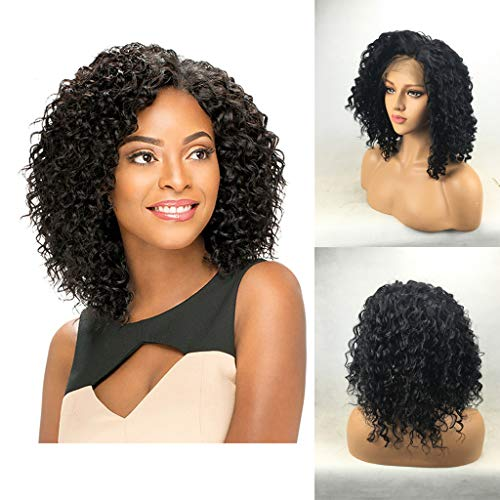 SOOTOP Curly Short Bob Wigs Brazilian Virgin Afro Kinky Water Wave Black Lace Front Heat Friendly Synthetic Cosplay Party Wigs Women Girls Charming Synthetic (Best Hair Relaxer 2019)