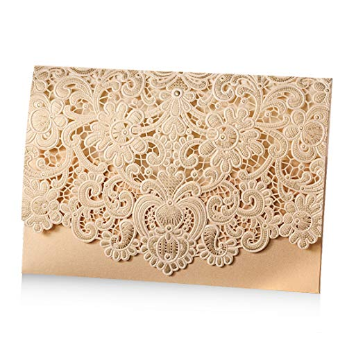 WISHMADE 50pcs Laser Cut Lace Flora Wedding Invitation with Gold Embossed Invite Cards Horizontal Favors Luxurious Wedding Invites Kit Cardstock for Engagement (Pack of 50pcs)