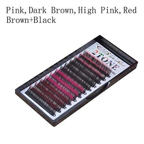 FUZHAN 2 PACK OF AA Two Tone Colorful Eyelashes Extension 0.15mm thickness D curl 9mm-15mm    (0.15 12MM D, Pink,Dark Brown,High Pink,Red Brown+Black - Two Tone Eyes