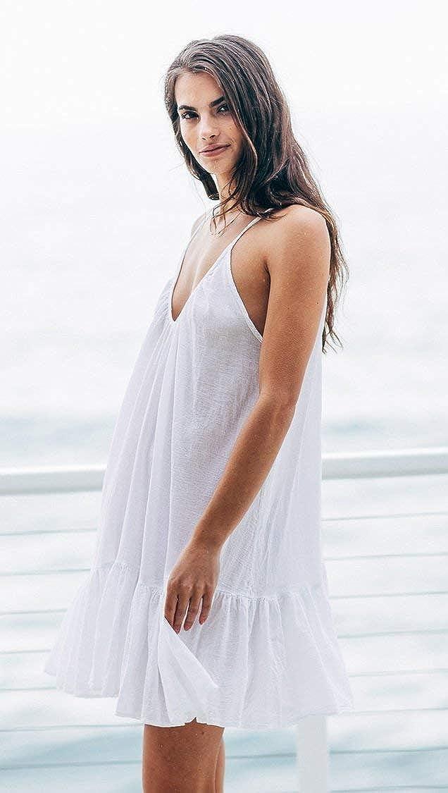 9seed St Tropez Ruffle Mini Cover Up V Neck Dress White