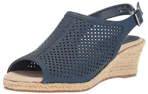 Street Wedge Easy Easy Denim Street Linen Print Womens Sandal Stacy q1E5S