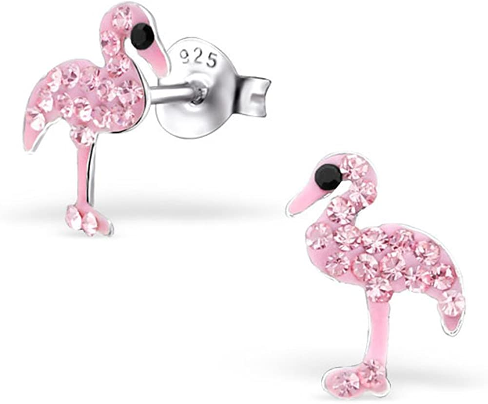 stainless steel anti allergen earring studs, Flamingo earrings gift set pink spotty glass earrings turquoise candy ball studs