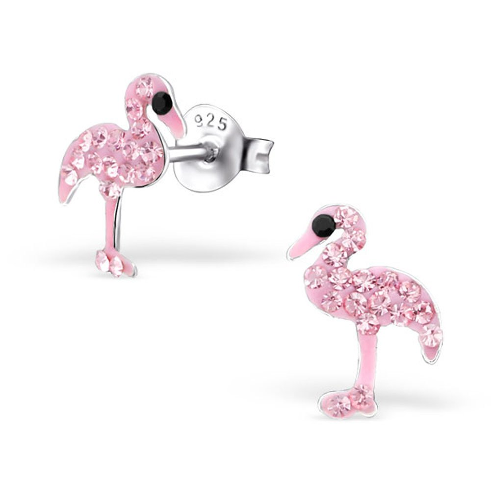 Tiny Flamingo Earrings Girls Light Pink Rose Crystal Stering Silver 925 (E22334)