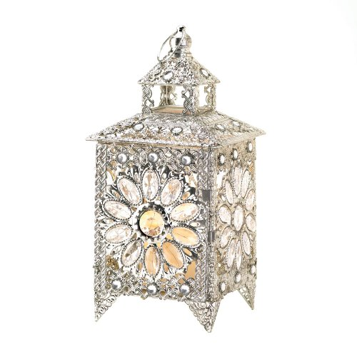Elegant Jewel Silver Sparkle Decorative Candle Lantern