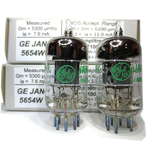 Riverstone Audio - Tested/Matched Pair (2 Tubes) 7-Pin GE JAN 5654W Fully-Tested Vacuum Tubes - Upgrade for 6AK5 / 6J1 / 6J1P / EF95 Audio Amplifier Tube - GE 5654W ()
