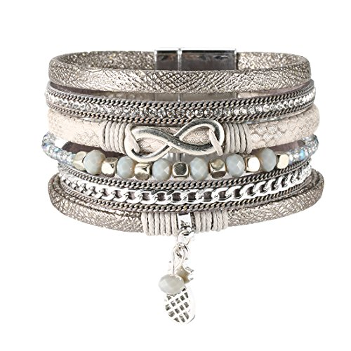 (REEBOOO Boho Bracelet, Leather Bracelet with Pineapples Charm Jewelry Gift for Her (Grey))