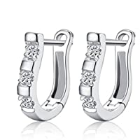 phitak shop Design 1 Pair Harp Horse Shoe Earrings Silver White Gemstones Hoop Earrings