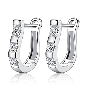Design 1 Pair Harp Horse Shoe Earrings Silver White Gemstones Hoop Earrings