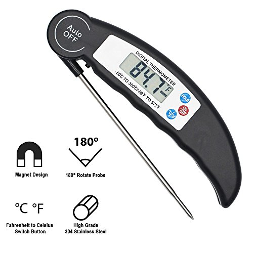 Digital Meat Thermometer, Valuever Cooking Food Thermometer Instant Read [Pocket-sized] LCD Display [Food Grade Stainless Steel Collapsible Safe Probe] for Kitchen BBQ Grill Smoker (Steel Thermometers Pocket Stainless)