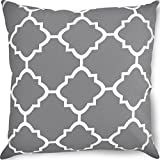 Utopia Bedding Decorative Square 18 x 18 inch Throw Pillow - Grey Moroccan Quatrefoil Lattice Cushion Pillow
