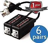 VENTECH 6 Pair (12 Pcs) Mini CCTV BNC Video Balun Transceiver Cable Push Button terminal