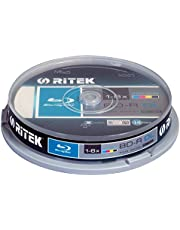 Pack of 10  Ritek Blu-Ray Blank Discs 50GB BD-R DL 6X Speed Spindle of 10  Full Printable BluRay