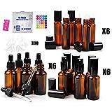 18 Amber Glass Bottles Pack- 6 amber glass eye dropper bottle (1oz) - 6 amber glass sprayer bottles (2oz) - 6 amber glass roller bottles (0.34oz) -36 Bottle Cap Stickers -1 Opener-10 Mini Funnels