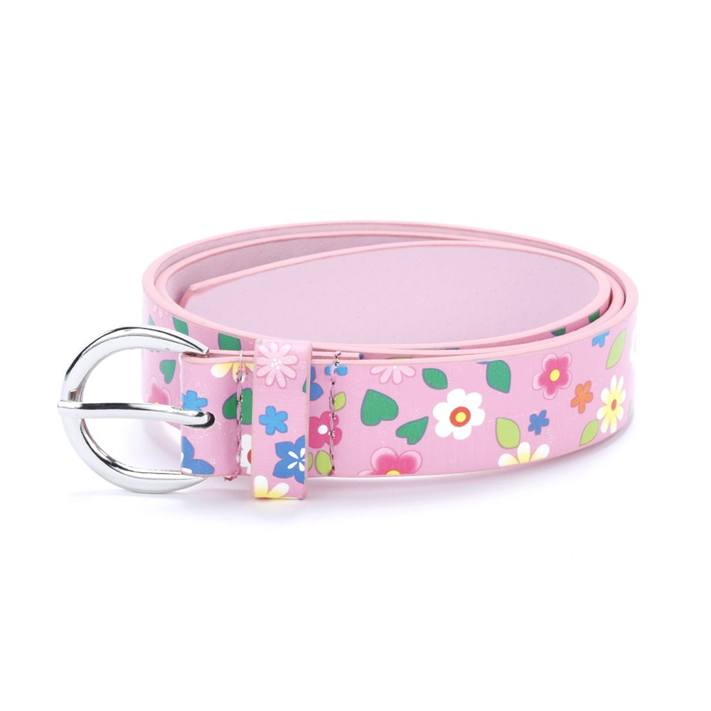 Girls Floral Print Leather Belt