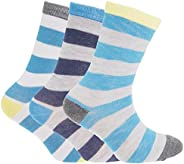 Childrens/Boys Striped Design Socks (Pack Of 3)