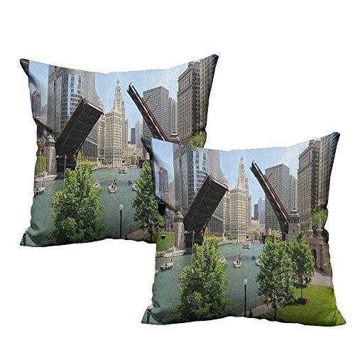 (RuppertTextile Couple Pillowcase United States Downtown Chicago Illinois Finance Business Center Lake Michigan Avenue Bridge Without core W24 xL24 2 pcs)