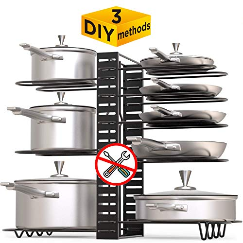 Pot Rack Organizer 3 DIY Methods Adjustable Height and Position 8+ Pots Holder Black Metal Kitchen Cabinet Pantry Pot Lid Holders -