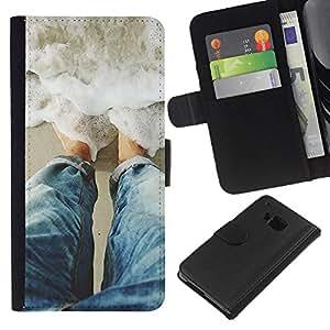 EJOY---La carpeta del tirón la caja de cuero de alta calidad de la PU Caso protector / HTC One M7 / --Olas sol Riego Surf Verano
