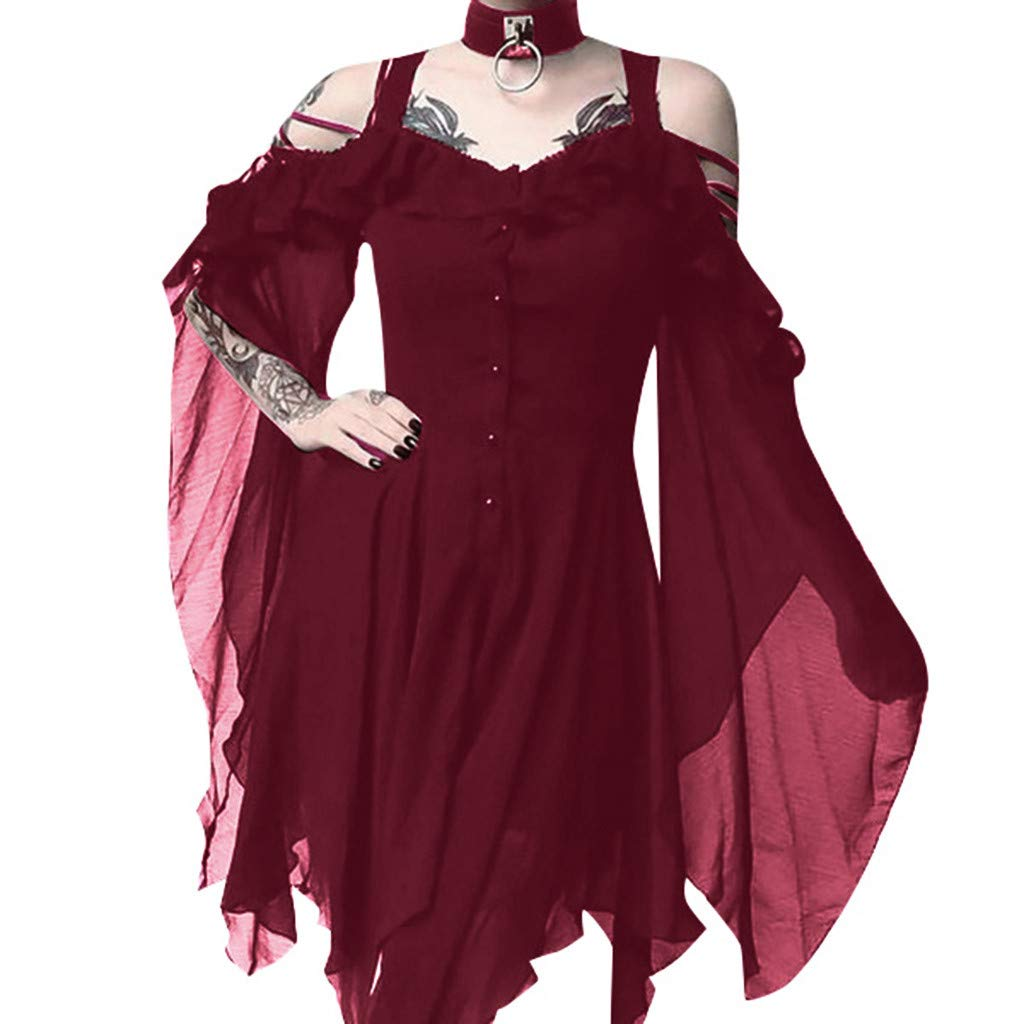 Women's Victorian Gothic Boho Witchy Dress Ruffle Sleeves Off Shoulder Retro Gown Cosplay Festivals by sweetnice Women Dresses