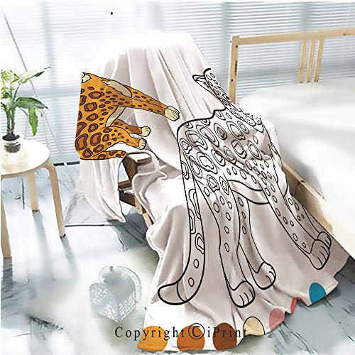 (Printed Flannel Sherpa Back Blanket,Coloring Page with Colors Cute Spotted Jaguar Smiles Rustic Home Decor Decorative,One Side Printing,W47.2 xH59.1)