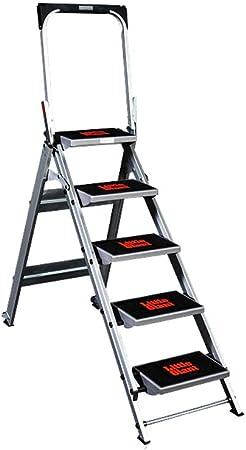 Step Stool Wooden- Escaleras de Tijera Escalera Plegable portátil Antideslizante Escalera multifunción con polea y Mesa de Trabajo Welcome (Tamaño : 5 Steps (with Pedal Pad)): Amazon.es: Hogar