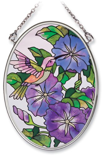 Amia Hand Painted Glass Suncatcher with Morning Glory and Hummingbird Design, 3-1/4-Inch by 4-1/4-Inch Oval