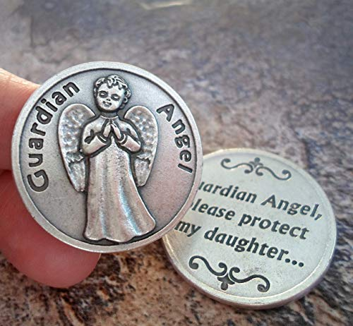 Pocket Prayer Coin, Guardian Angel Protect My Daughter. Keep Safe and Shield from Harm. Stop Bullying. Safe Travel. Perfect for Pockets or Purse. Packaged in a Lovely Gift Bag and ()