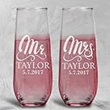 Lily's Atelier Set of 2, Hand Engraving Mr. Mrs. Last Name & Date Custom Stemless Wedding Toast Champagne Flute Set, Wedding Toast Glasses – Etched Flutes for Bride & Groom Custom Wedding Gift #E11 Review