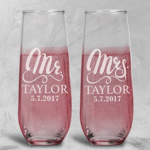 Lily's Atelier Set of 2, Hand Engraving Mr. Mrs. Last Name & Date Custom Stemless Wedding Toast Champagne Flute Set, Wedding Toast Glasses - Etched Flutes for Bride & Groom Custom Wedding Gift #E11 Clear 7 Ounce Flute