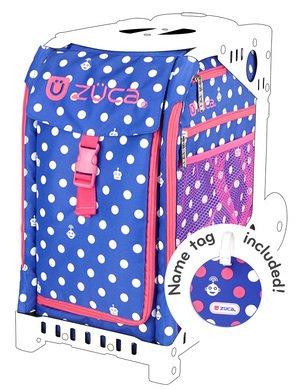 ZUCA Sport Insert Bag,Polka Bots with Name Tag & Pink Frame w/Flashing Wheels