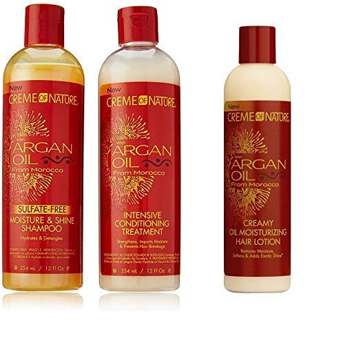 Creme of Nature Argan Oil Trio Set (Moisture & Shine Shampoo, Intensive Conditioning Treatment, Oil Moisturizer) by Creme of Nature