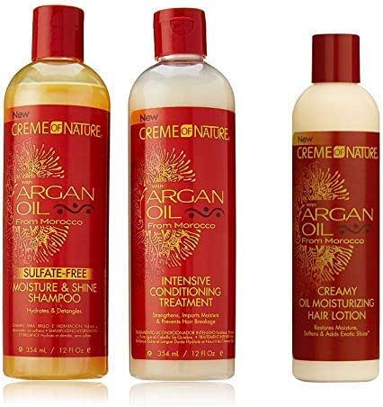 Creme of Nature Argan Oil Trio Set (Moisture & Shine Shampoo, Intensive Conditioning Treatment, Oil Moisturizer)