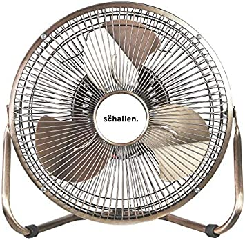 Copper Schallen Small 9 Metal High Velocity Cold Air Circulator Adjustable Floor Fan with 3 Speed Settings