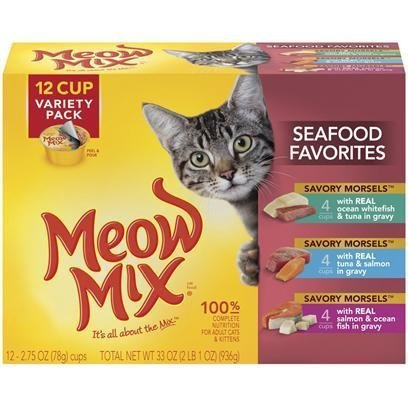 Case of 4 Meow Mix Market Selects Seafood & Poultry Variety Pack 12 x 2.75 oz by Meow Mix