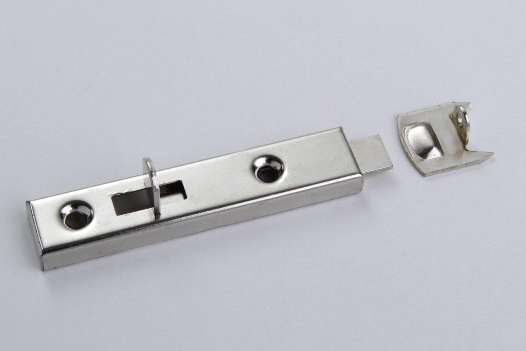 1 M/öbelriegel T/ürriegel Schrankverschluss mit Anschlag Metall vernickelt 70mm