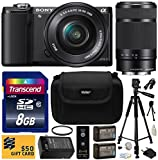 Sony Alpha A5000 20.1 MP Interchangeable Lens Camera with 16-50mm OSS Lens (Black) ILCE5000L & Sony E 55-210mm F4.5-6.3 OSS Lens for Sony E-Mount Cameras with Beginner Accessories Bundle Kit includes 8GB Class 10 SDHC Memory Card + x2 Replacement (1200mAh