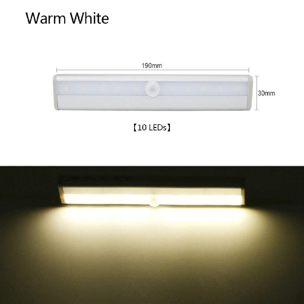Bright White 10Leds PIR LED Night Light Battery Power with Magnetic Strip Sensor