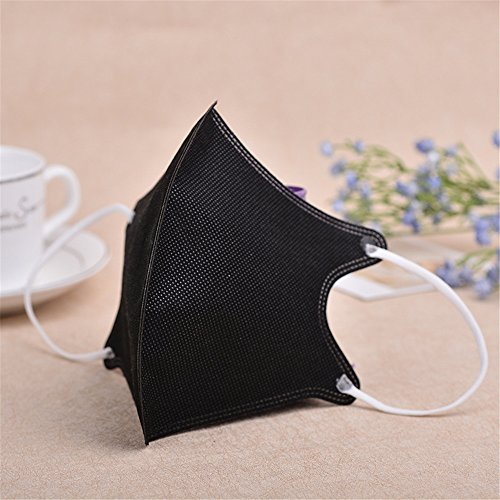 10PCS 3D Fashion Non-woven fabric Breathability Earloop Anti-Dust PM2.5 Face Mask Dust Filter Mouth Cover With Individual Package for Shopping And Outdoor Activities( Black)