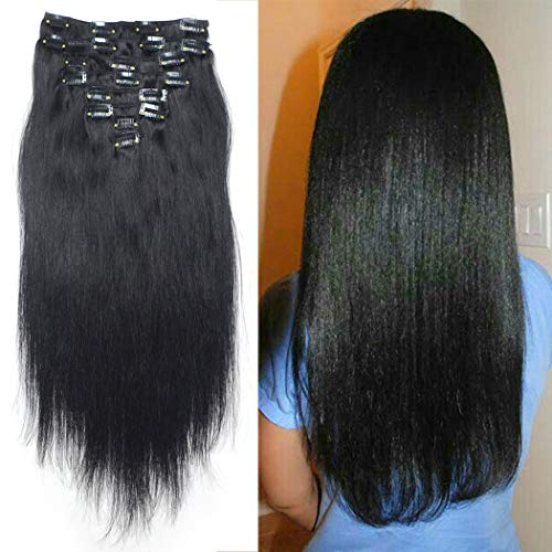 Luwigs 140g 18 inches #1 Jet Black Human Hair Clip in Extensions for Women Silky Full Head Straight Brazilian Remy Hair Extension 8Pcs/Set