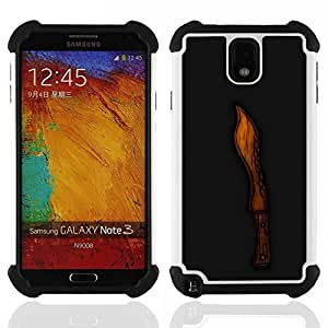 GIFT CHOICE / Defensor Cubierta de protección completa Flexible TPU Silicona + Duro PC Estuche protector Cáscara Funda Caso / Combo Case for Samsung Galaxy Note 3 III N9000 N9002 N9005 // Wood Knife Cut Black Carved //