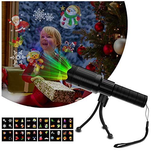 DONWELL Projector Light for Christmas Holiday Halloween Decorative Outdoor Kids Handheld Flashlight 12 Slides -