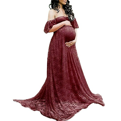 Women's Off Shoulder V Neck Ruffle Short Sleeve Floral Lace Maternity Gown Ruched Dress Baby Shower Party Cocktail Long Maxi Photography Dress for Beach Photo Shoot Burgundy Small