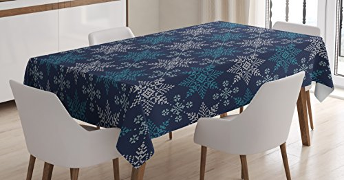 Ambesonne Snowflake Tablecloth, Winter Holiday Theme Eight Pointed Star Christmas Pattern, Dining Room Kitchen Rectangular Table Cover, 52 W X 70 L Inches, Pale Sea Green Dark Blue Pale Blue]()