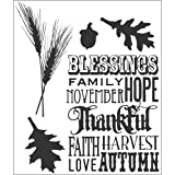 Stampers Anonymous Tim Holtz Cling Rubber Stamp Set, Thanksful Silhouettes