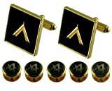 worshipmaster Gold Cufflinks Masonic 5 Shirt Dress Studs Box Set